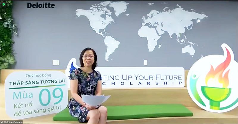 Bà Hà Thu Thanh - Chủ tích Deloitte Việt Nam phát biểu